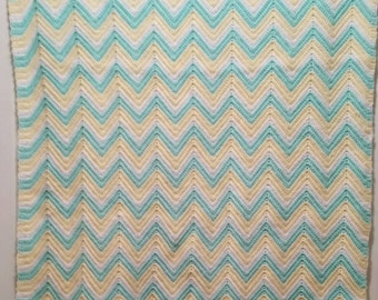 "Crocheted Baby Blanket 26""x38"" Aqua, Yellow and White."