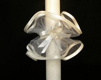 Candle Decoration Baptism Communion Christening Wedding Decoration - Tulle