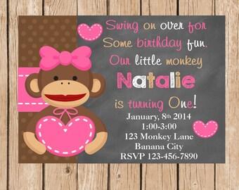 Girl Sock Monkey Chalkboard Invitation