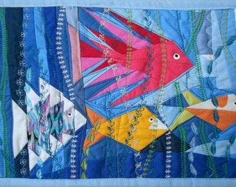 Quilted wall hanging Textile Cotton art Quilt of the sea Quilt of fish Handmade quilt Patchwork Wall Hanging Patch work Homemade quilt