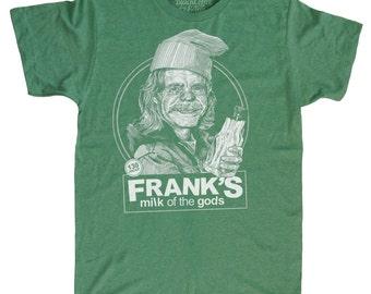 St Patricks Day Shirt - Shameless Shirt - Frank Gallagher Shirt -  Milk of the gods Beer Shirt Hand Screen Printed on a Mens Green Shirt