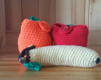 Fruit Cozy, Fruit Jackets, Crochet Cozies, Fruit Cover Set, Fruit Cozy Set, Fruit Holder, Crochet Fruit, Apple Cozy, Banana Holder, Crochet