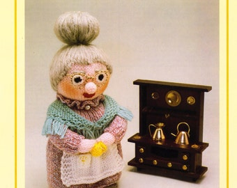 PDF Vintage Woolly Wotnot Knitting Pattern – Grandma, Doll, Toy - PDF instant download