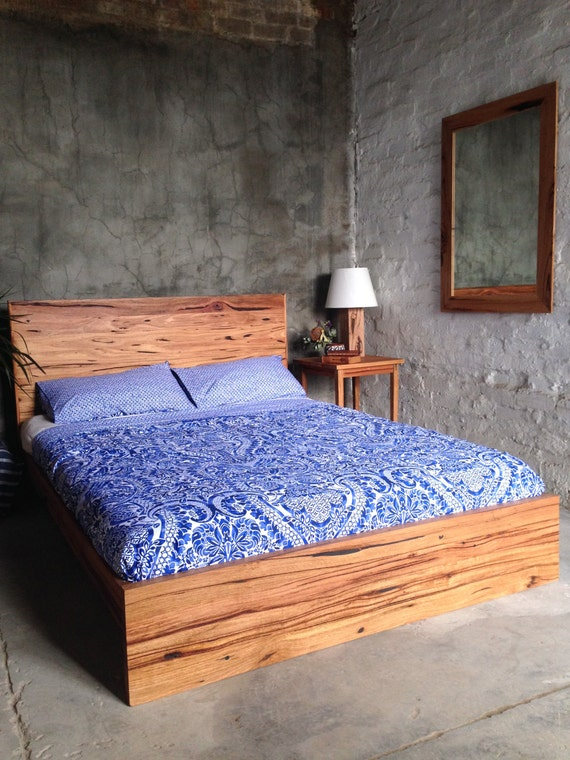 Rustic recycled timber panel bed for Recycled timber beds