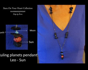 Leo Ruling Planet Zodiac Necklace With Matching Earrings. Sun, Earth And Moon . Astrology Jewelry, Astronomy Jewelry,Zodiac Jewelry