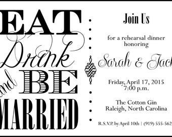 Eat Drink & Be Married Invitation, Vintage - Printable