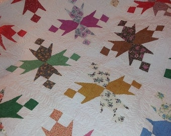 Garden Walk Quilt - Vintage Top, Newly Quilted