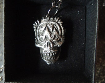 Steampunk Skull-o-Vision T.V. Skull Pewter Pendant