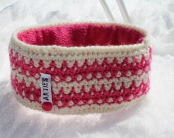 SALE!  Stirnband, Ohrenwärmer aus gutem, haltbaren Material. Winddicht durch Futter aus Polarfleece. Earwarmer, crocheted. Bandeau du laine