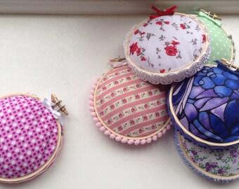 Fabric hoop pincushion