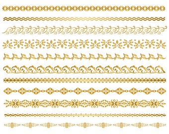 GOLD Digital Border Clip Art Digital Flourish Swirl Border Clip Art Gold Flower Border Scrapbooking Embellishments Decor Invitation DIY 0101