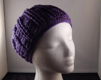 Purple crochet cap