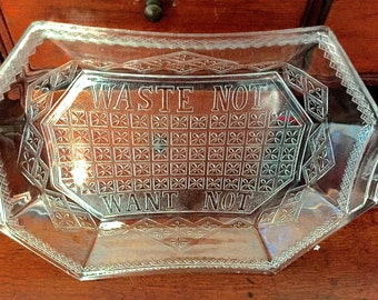 "Early American Pattern Glass ""Waste Not Want Not"" Platter-1800's!"