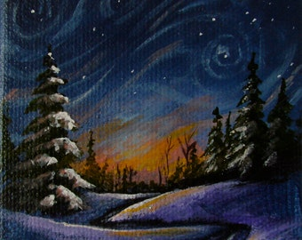 "Miniature 3"" x 3"" acrylic painting on stretched canvas with easel. A hint of ultra fine glitter makes this scene come alive."