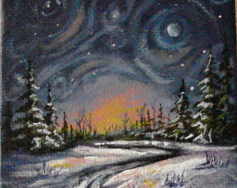 "3"" x 3"" acrylic painting on canvas panel with 4.5"" easel. Ultra fine glitter added to make the scene sparkle."