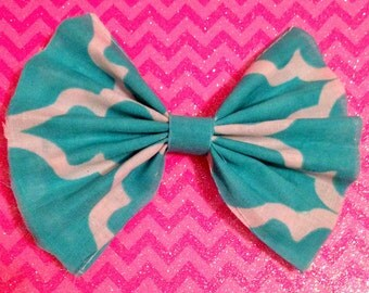 Blue and White Patterned Handmade Hair Bow