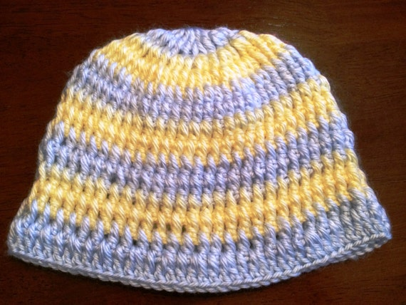 Blue and Yellow Striped Baby Hat