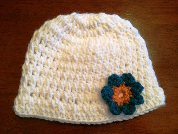 White Baby Hat with Blue Flower
