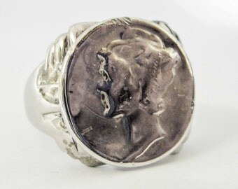 MERCURY dime ring, sterling silver ring