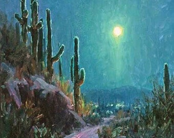 Desert Moonlight, Southwest Saguaro Cactus impressionist oil nocture landscape painting = giclee paper print, white mat and ready to frame