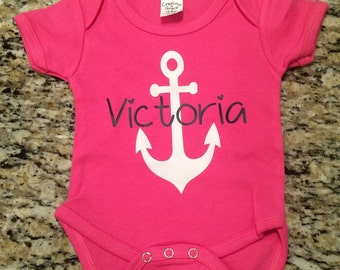 Anchor onesie with name