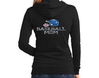 Baseball Mom with Rhinestone Women's Fleece Hoodie Sweatshirt Jacket