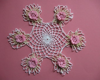 Pink Flowers With Leaves Hand Crocheted Doilie 1960s Era