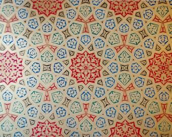 1885 original print - Spécimens de plafonds - La Decoration Arabe, Prisse d'Avesnes - Lithograph Patterns arabesques colorful rare