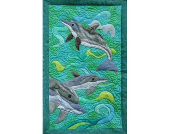 Dolphins  is a quilted applique pattern for a wall hanging
