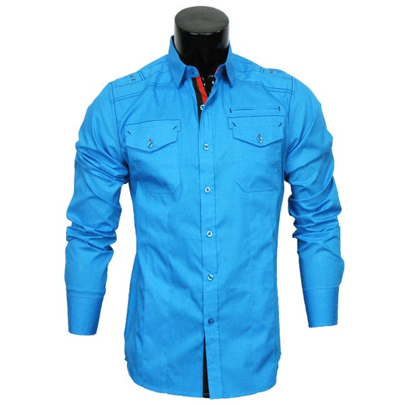 mens casual dress shirt long sleeve turquoise by caviardremes