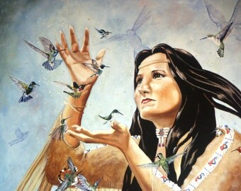 Print hummingbird Native American Indian maiden song bird wall art