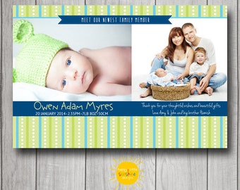 Personalised Boy Announcement Photo Printable Blue and Green Stripped Background