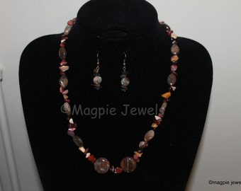 Natural Stone Necklace and Earring set Reds, Green,s Browns