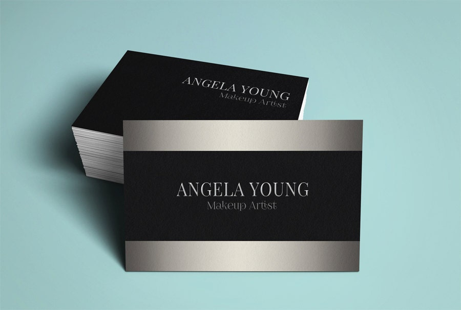 Silver business card template modern business card design