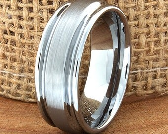Tungsten Wedding Ring Grooved Stepped Edges Brushed Center Mens Tungsten Wedding Band Ring Customized Couple Band Man Wedding Tungsten Ring