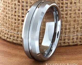 Wedding Band Single Grooved Satin Finish Beveled Edges Ring 7mm Tungsten Band Mens Ring Mens Wedding Ring Laser Engraving Anniversary Band