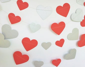 FOREVER Paper Hearts Garland - Wedding, Engagement, Party, Shower, Room decoration