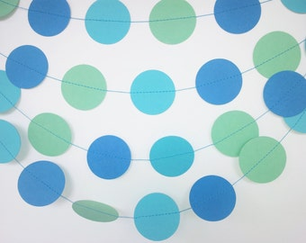 UNDER THE SEA Paper Circle Garland -  Party, Shower, Nursery, Children's Room decoration
