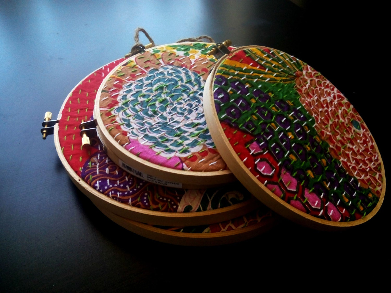 Floral embroidery hoop art wall decor