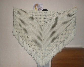 Hand knit crochet shawl triangle