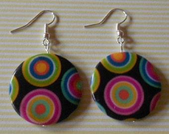 Hand made earrings, phsycodelic painted shell beads, nickel free