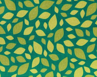 Patchwork fabric - leaves turquoise