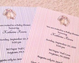 Baby Shower Custom Invitation-Bunny Animal Theme Shower Invitation Birth Announcement