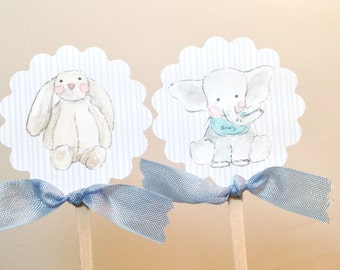 Baby Boy Shower Cupcake Toppers- Baby Boy Animal Theme Shower Toppers-Set of 12