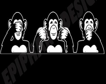 3 Wise Monkeys T-Shirt Mens  Monkies three wise Funny