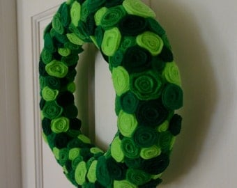 Handmade Green Rosette Flower Wreath