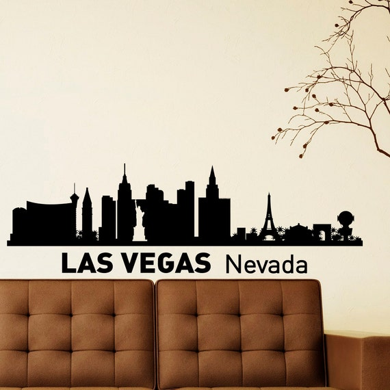 wall decals vinyl stickers las vegas skyline by fabwalldecals With vinyl lettering las vegas