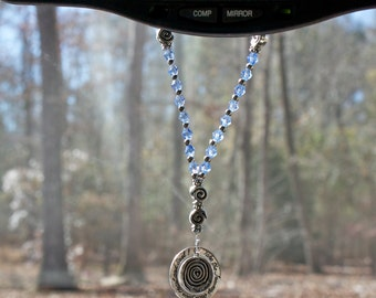 The Soul's Traveller – A Rear View Mirror Charm Companion (Blue / Silver Labyrinth Charm)