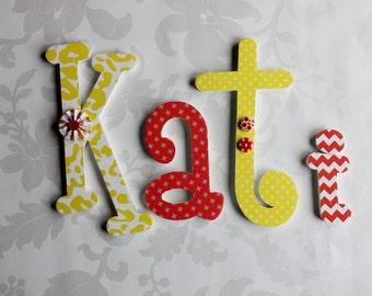 Custom Wooden letters, Whimsical Font wall decor, Girls Room, Nursery Decor