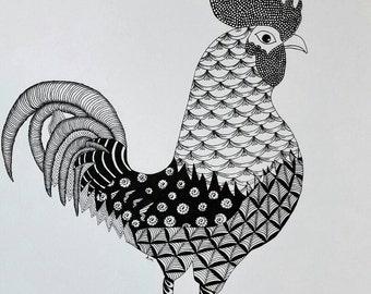 Rooster Zentangle Art Print